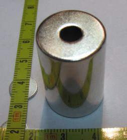Магнит цилиндр с отверстием ⌀20 ⌀6x30 N33EH